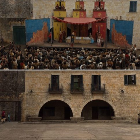 The stage where Arya saw the play.
