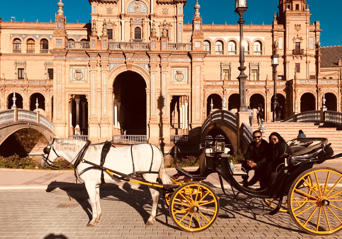 The carriage and us in Plaza De Espana, Seville.